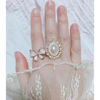 リボン パール ゴールド リング 指輪セット(リング)