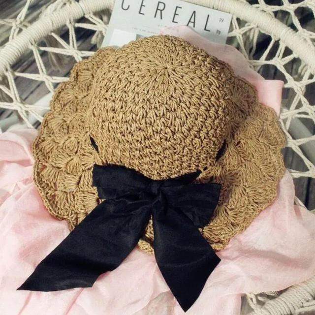 snidel(スナイデル)のbibiy. 麦わら帽子 フリル リボン コーヒーカラー ハット バックリボン レディースの帽子(麦わら帽子/ストローハット)の商品写真