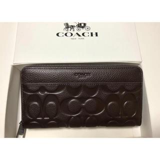 COACH - 新品未使用品★コーチ シグネチャー 押し型レザー 長財布 F74999 ブラウン