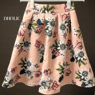 ディーホリック(dholic)の【新品未着用】DHOLIC / フレアフローラルミディスカート(ひざ丈スカート)