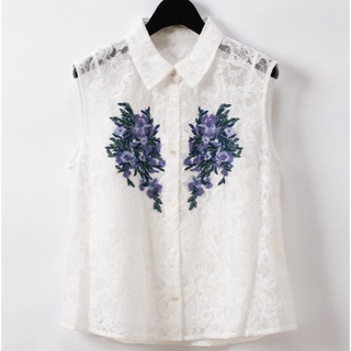 GRACE CONTINENTAL - グレースコンチネンタル 刺繍レースシャツノースリーブ