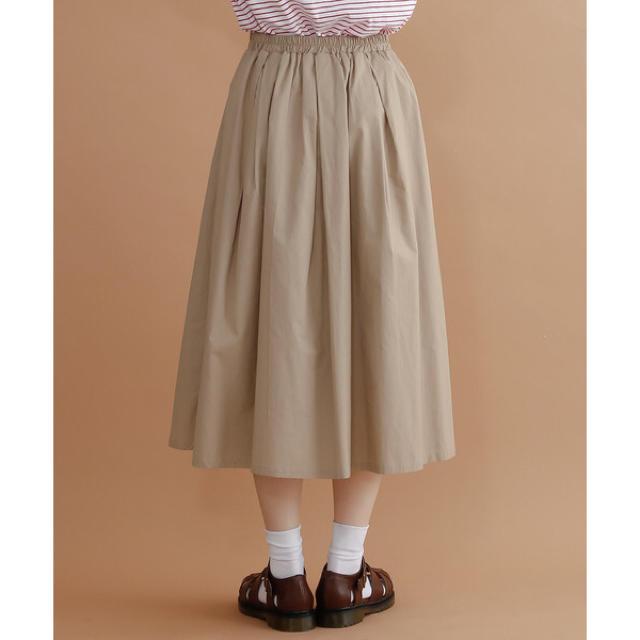 merlot(メルロー)の完売品 merlot コットン フレアタックスカート ベージュ レディースのスカート(ひざ丈スカート)の商品写真