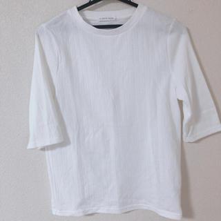ローリーズファーム(LOWRYS FARM)の送料無料 七分袖 白Tシャツ Lサイズ(Tシャツ(長袖/七分))