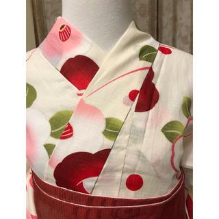 可愛い椿の浴衣 新品 Lサイズ 綿絽(浴衣)