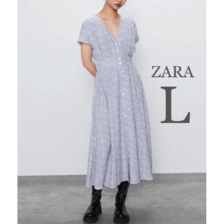ZARA - 【新品・未使用】ZARA フラワー柄 ミディ丈 ワンピース L