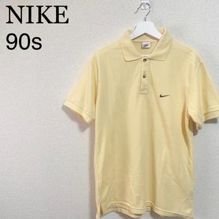 ナイキ(NIKE)の90s NIKE ポロシャツ メンズL 銀タグ 黄色 刺繍ロゴ スウォッシュ(ポロシャツ)