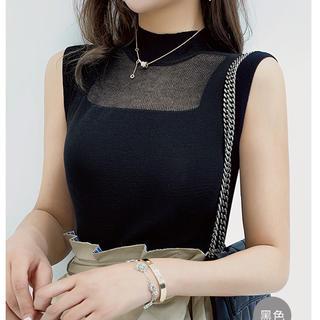 Lily Brown - デコルテシースルーデザイントップス(ブラック)