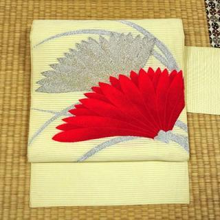 夏帯 薄い黄色に銀糸と赤い花 名古屋帯(帯)