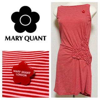 MARY QUANT - MARY QUANT ブローチ付き ボーダー柄ワンピース マリークワント