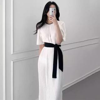 FRAY I.D - 上品 リボンプリーツ  ロングワンピース 韓国 ファッション