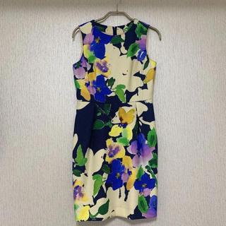 GRACE CONTINENTAL - 花柄ワンピース グレースコンチネンタル  ネイビー 34