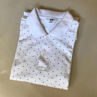 ユニクロ(UNIQLO)のユニクロ ポロシャツ メンズ 水玉 白 M(ポロシャツ)