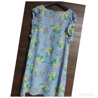 クチュールブローチ(Couture Brooch)の肩フリルワンピース 花柄ワンピース 水色 膝丈ワンピース(ひざ丈ワンピース)