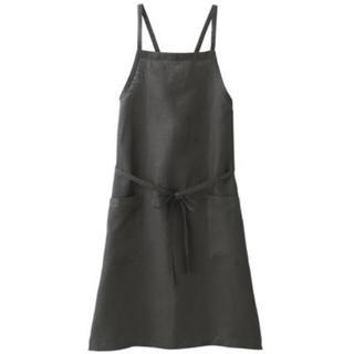 ムジルシリョウヒン(MUJI (無印良品))の新品 無印良品  麻平織 肩クロスエプロン 身丈約90cm  (収納/キッチン雑貨)