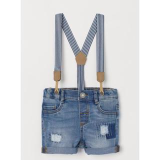 エイチアンドエム(H&M)のH&M デニム ショートパンツ サスペンダー付 80サイズ(パンツ)