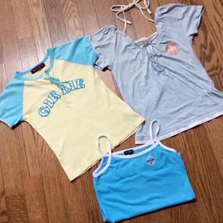 アクアブルー(Aqua blue)のTシャツ&キャミソール 3枚 アクアブルー クロスブラス(Tシャツ/カットソー)