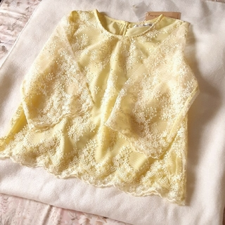 mysty woman - 【限定セール中】刺繍ブラウス レモン色 フリーサイズ 新品タグ付き