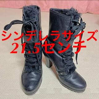 ダイアナ(DIANA)のシンデレラサイズ DIANA ダイアナ レースアップ ファー ブーツ 21.5(ブーツ)