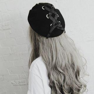 新品★黒編み上げサテンりぼんフェルトベレー帽(ハンチング/ベレー帽)