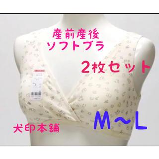 新品未開封☆犬印 産前産後 マタニティブラ 2枚セット 授乳ブラ ソフトブラ