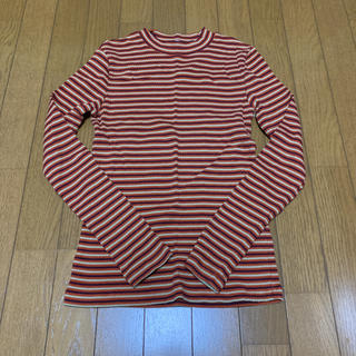 ジーユー(GU)のGU オレンジ マルチボーダーハイネック 長袖Tシャツ Mサイズ(Tシャツ(長袖/七分))