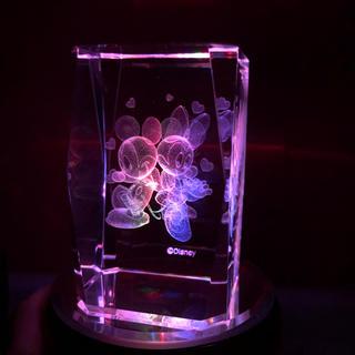 ディズニー(Disney)のミッキー&ミニー 3Dレーザー彫刻クリスタルガラス置物(ガラス)