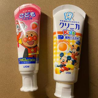 LION 子ども用歯磨き粉 2つ イチゴ香味 オレンジ香味(歯磨き粉)