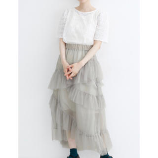 merlot - ギャザーフリルチュールスカート merlot plus