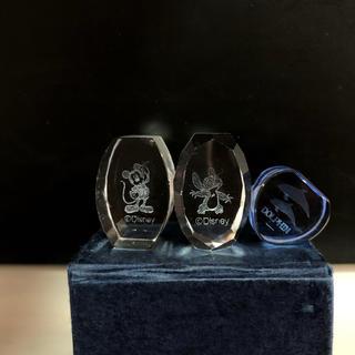 ディズニー(Disney)のミッキー スティッチ イルカ 3Dレーザー彫刻クリスタルガラス置物(ガラス)
