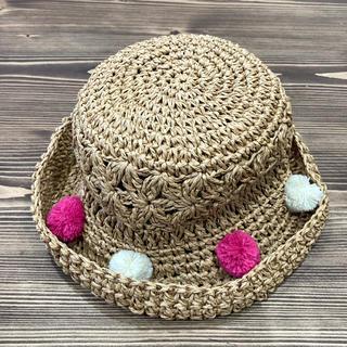 ブランシェス(Branshes)のぽんぽん付き手編みハット BN52(帽子)