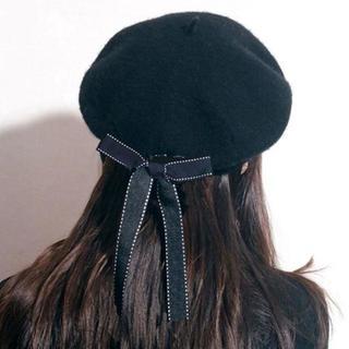 新品☆黒リボン付き可愛いベレー帽(ハンチング/ベレー帽)