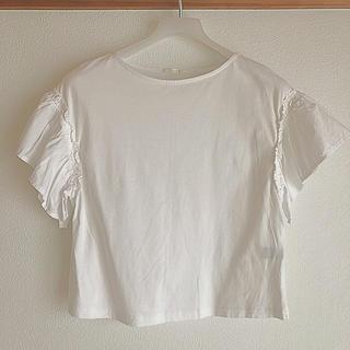 ジーユー(GU)のGU  半袖トップス ホワイト Sサイズ(カットソー(半袖/袖なし))