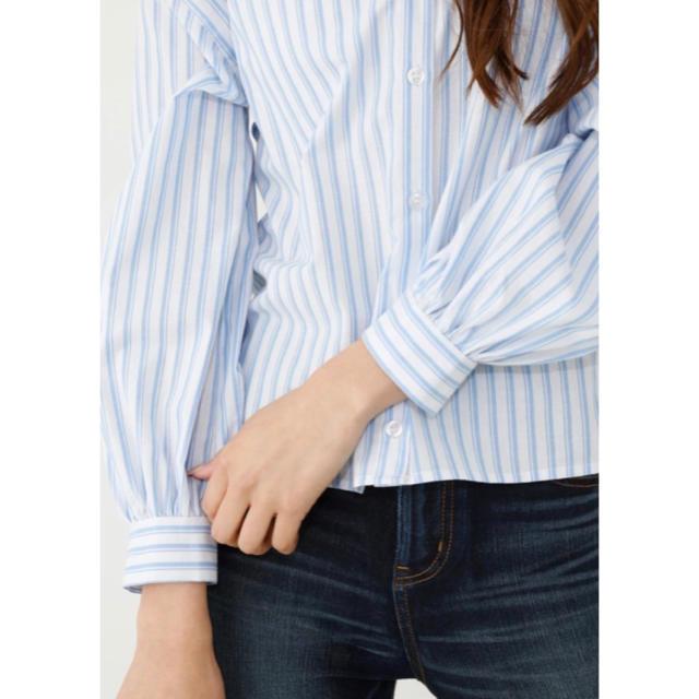 rienda(リエンダ)のリエンダ 新品未使用 ストライプルーズシャツ Fサイズ トップス サックス レディースのトップス(シャツ/ブラウス(長袖/七分))の商品写真