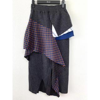 エンフォルド(ENFOLD)の美品 ENFOLD エンフォルド スカート 切り替え 36 ニット チェック(ロングスカート)