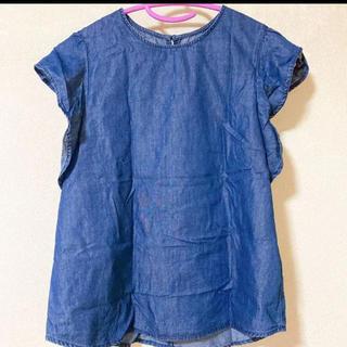 ジーユー(GU)のGU デニム風 袖フリルブラウスSサイズ(シャツ/ブラウス(半袖/袖なし))