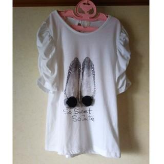 女の子 カットソー Tシャツ 160 袖シャーリング バレエシューズ(Tシャツ/カットソー)