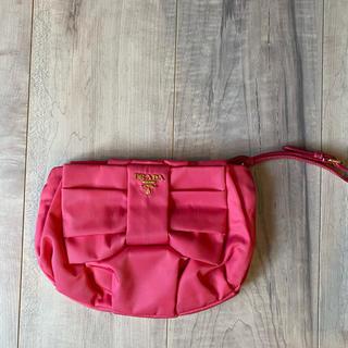 PRADA - 【美品】プラダ リボン付き ナイロンポーチ ピンク