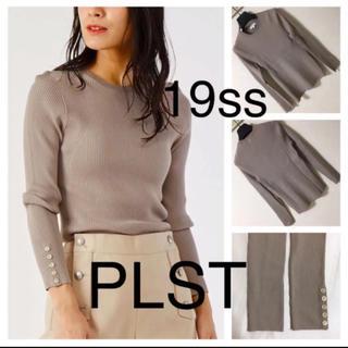 PLST - 19ss◆PLST プラステ◆ソフトレーヨンポリ 袖ボタン リブ ニット M