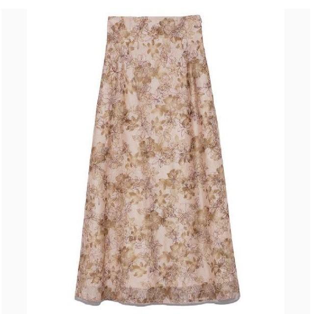 Lily Brown(リリーブラウン)の新品タグ付 ぼかし花柄刺繍スカート ベージュ Lily Brown レディースのスカート(ロングスカート)の商品写真