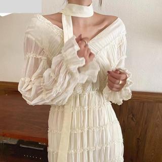 JOURNAL STANDARD - ホワイトギャザーサラサラロングワンピースドレス 春服夏服 レディース シースルー
