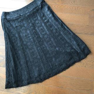ロペ(ROPE)のロペ ブラックレース スカート(ひざ丈スカート)