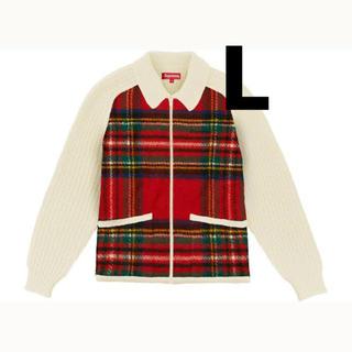 シュプリーム(Supreme)のsupreme plaid front zip sweater 白 L(ニット/セーター)