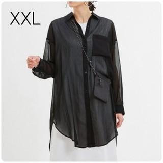 GU - 新品・未使用!!【XXL】GU/シアーロングシャツ/ブラック