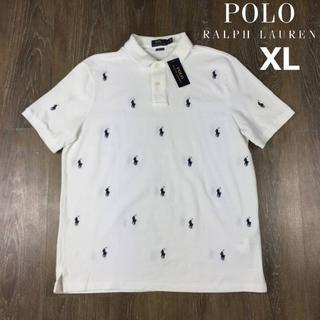 ポロラルフローレン(POLO RALPH LAUREN)のポロラルフローレン 半袖 ポロシャツ ポニー(XL)白 総柄 190131(ポロシャツ)