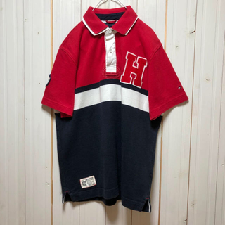 TOMMY HILFIGER - アメリカ古着 トミーヒルフィガー 半袖 刺繍ラガーシャツ 太ボーダー アメカジ