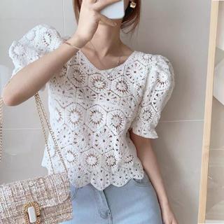 dholic - 当日発送可能❤韓国ファッションかぎ編みサマーニットホワイト