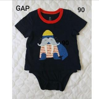 ベビーギャップ(babyGAP)の【美品】BABYGAP つなぎロンパース 紺色 半袖 18-24m 90cm(Tシャツ/カットソー)