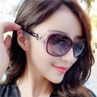男女兼用 偏光サングラス 紫 パープル デカサングラス メガネ袋付き(サングラス/メガネ)