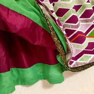 リリーブラウン(Lily Brown)のリリーブラウン 民族調フレアミニスカート ビーズ刺繍縁どり M 未使用美品(ミニスカート)