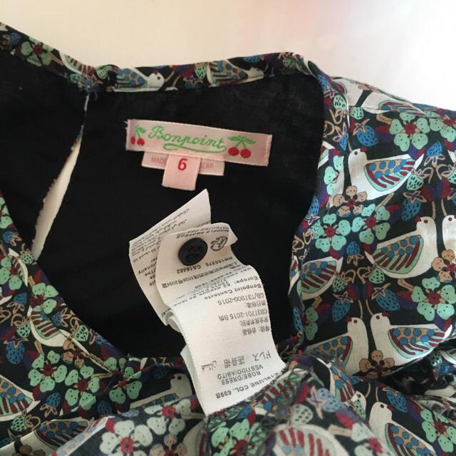 Bonpoint(ボンポワン)のbonpoint 19ss ボンポワン ワンピース 6A 巾着付き キッズ/ベビー/マタニティのキッズ服女の子用(90cm~)(ワンピース)の商品写真